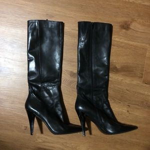 Nine West knee high leather boots heels size 10M